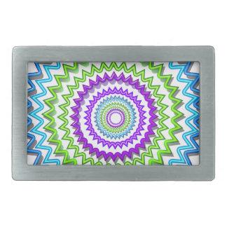 CHAKRA WHEEL Round Neon Sparkle Healing Decoration Rectangular Belt Buckles