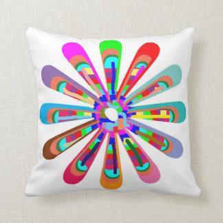 CHAKRA WHEEL Round Neon Sparkle Healing Decoration Throw Pillow
