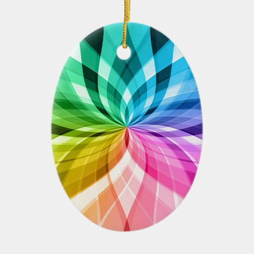 chakra zen kaleidoskop colorful fun Double-Sided oval ceramic christmas ornament