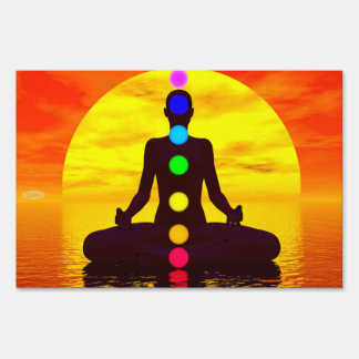 Chakras at sunset - 3D render Lawn Sign