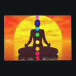 """Chakras at sunset - 3D render Placemat<br><div class=""""desc"""">Silhouette of a woman meditating with seven colorful chakras upon ocean by red sunset</div>"""