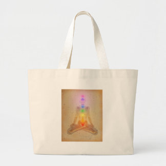 Chakras over a human body canvas bags