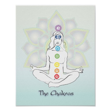 Sitting meditation Chakras poster print