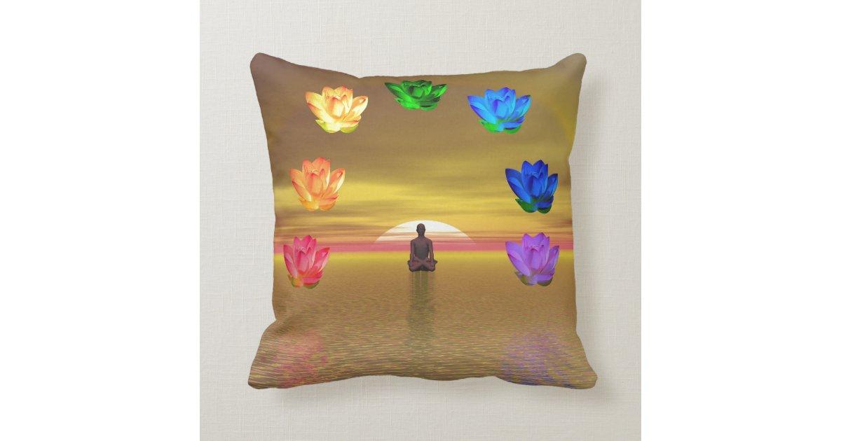 Turquoise And Purple Decorative Pillows : Chakras,red,orange,yellow,green,turquoise,purple Throw Pillow Zazzle