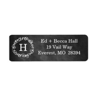 Chalboard Floral Wreath Monogram Return Label