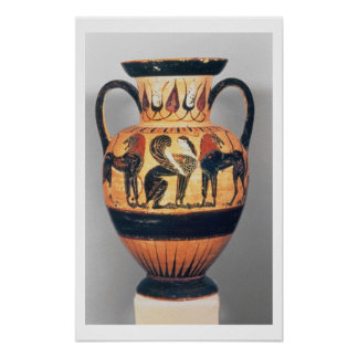 Chalcidian black figure amphora depicting a sphinx poster
