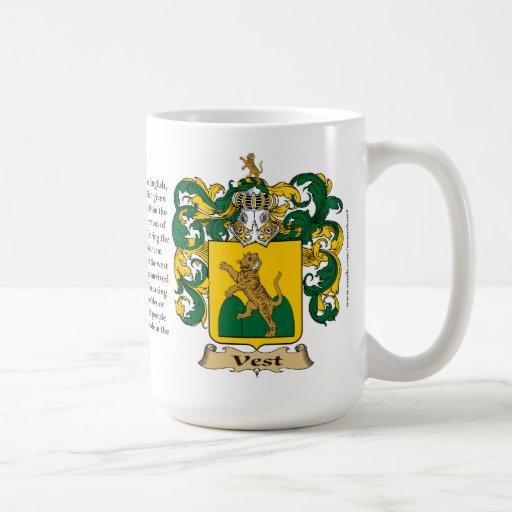 Chaleco, el origen, el significado y el escudo tazas de café