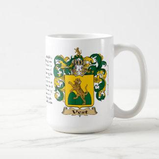 Chaleco, el origen, el significado y el escudo taza clásica