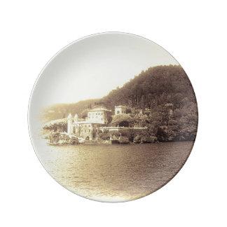 Chalet Balbianello de Como Italia del lago Plato De Cerámica
