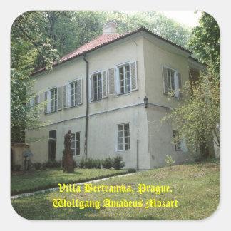 Chalet Bertramka-Mozart-Praga Calcomanías Cuadradass