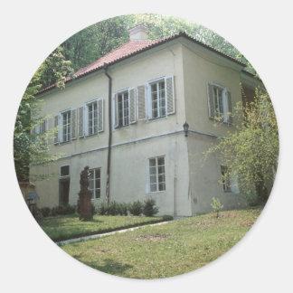 Chalet Bertramka-Mozart-Praga Pegatina Redonda
