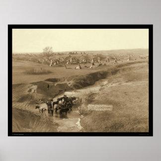 Chalet del campo SD 1891 del tipi de Lakota del in Póster