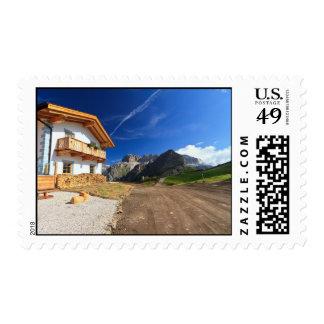 chalet in Dolomites Postage Stamp