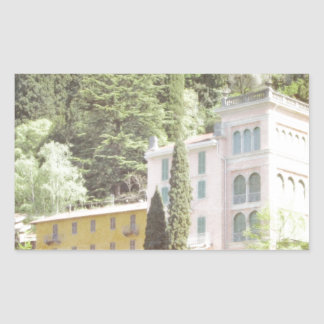 Chalet italiano rosado de la ladera pegatina rectangular