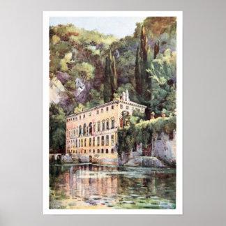 Chalet Plini de Como del lago italy de la acuarela Póster