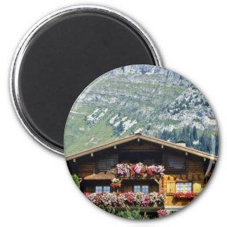 Chalet sobre Le Grand Bornand, montañas francesas, Imán De Frigorifico