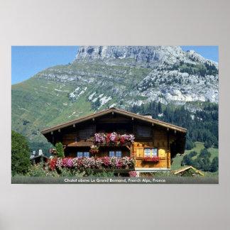 Chalet sobre Le Grand Bornand, montañas francesas, Poster