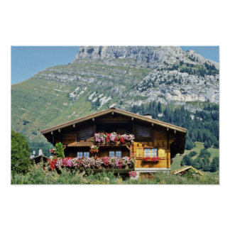 Chalet sobre Le Grand Bornand montañas francesas Posters