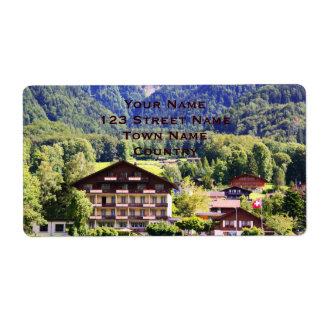 Chalet suizo etiqueta de envío