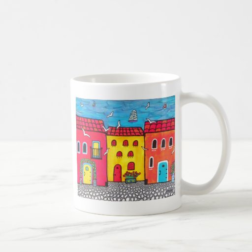 Chalets de playa taza de café