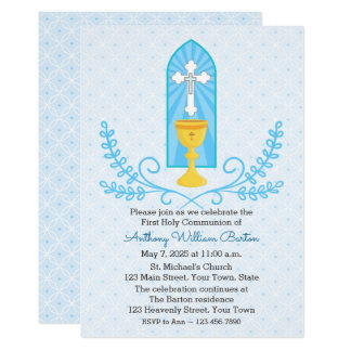 Chalice and Cross Blue First Communion Invitation