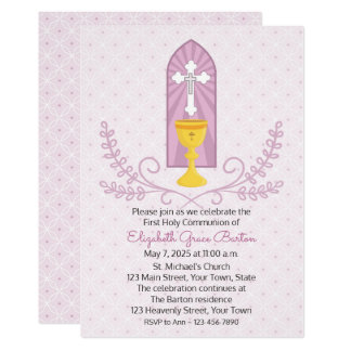 Chalice and Cross Pink First Communion Invitation