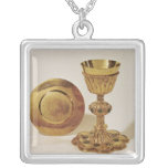 Chalice and paten square pendant necklace