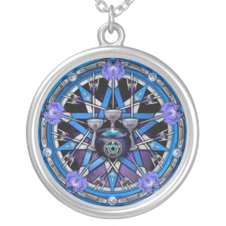Chalice and Swords Pentacle Round Pendant Necklace