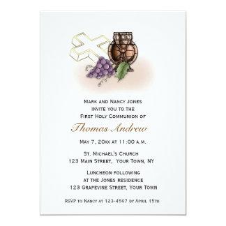 Chalice, Cross, Grapes Communion Invitation