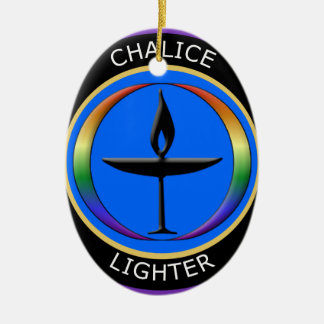 Chalice Lighter Double-Sided Oval Ceramic Christmas Ornament