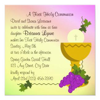 "Chalis and Grapes 1st Communion 5.25"" Square Invitation Card"