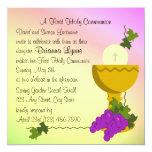 Chalis y comunión de las uvas 1ra invitación 13,3 cm x 13,3cm