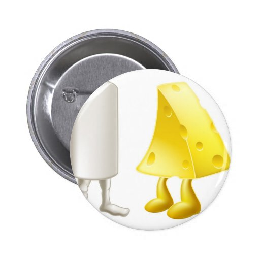 Chalk and cheese characters pinback button