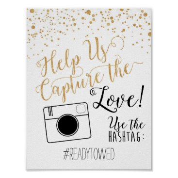 AshPartyInspiration Chalk and Glitter Wedding Hash Tag Sign Poster