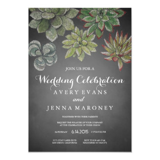 Chalk Art Succulent Plant Wedding Invitation