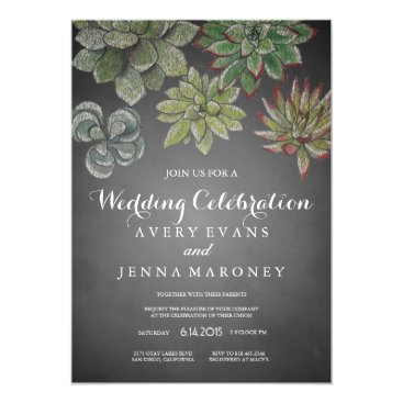 GreenLeafDesigns Chalk Art Succulent Plant Wedding Invitation