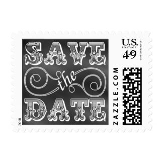 Chalk Board Black And White Vintage Save The Date Postage