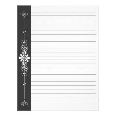 Chalk Board Border Black | White Lined Pages Personalized Letterhead