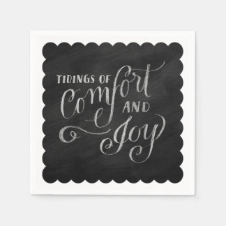 Chalk Board Drawn Tidings of Comfort and Joy Napkin