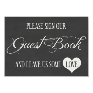 Chalk Board Hearts Wedding | Guest Book Card