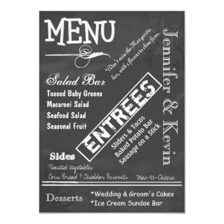 Chalk Board Look Custom Wedding Menu 4.5x6.25 Paper Invitation Card
