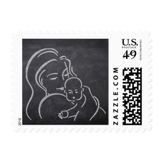 Chalk Board Mother and Baby Stamps