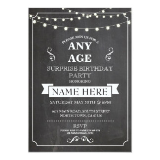 Chalk board Surprise Birthday Party ANY AGE Invite