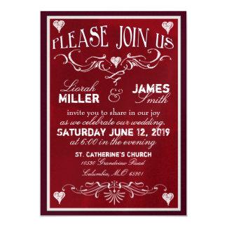 Chalk board Wedding Invitation in deep red