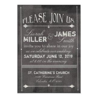 Chalk board Wedding Invitation with old fashioned