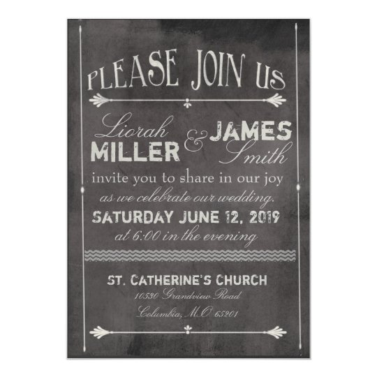 Wedding Invitations Old Fashioned: Chalk Board Wedding Invitation With Old Fashioned