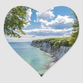 Chalk cliffs on the island Ruegen in Germany Heart Sticker