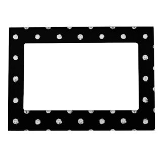 Chalk dot classic black and white pattern magnetic picture frame