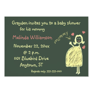 Chalk Drawing Baby Shower Invitation From Child