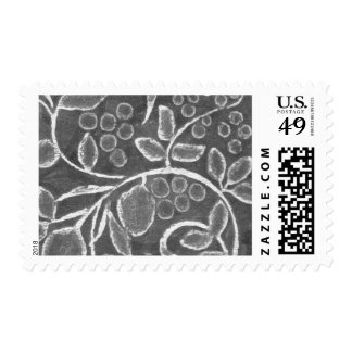 Chalk Drawing Flower Spray Postage Stamps